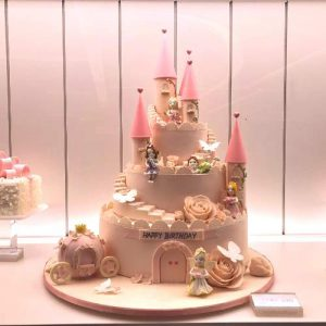 Pink Castle Birthday Cake for Prince and Princess Party