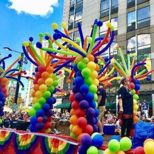 Rainbow Balloon Decorations on Parade Float